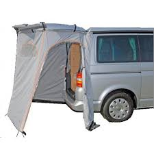 Campervan rental in France with hatchback tent and awning